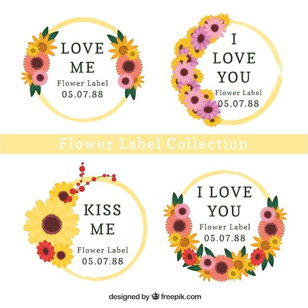 Set De Cuatro Etiquetas Redondas Con Flores De Colores