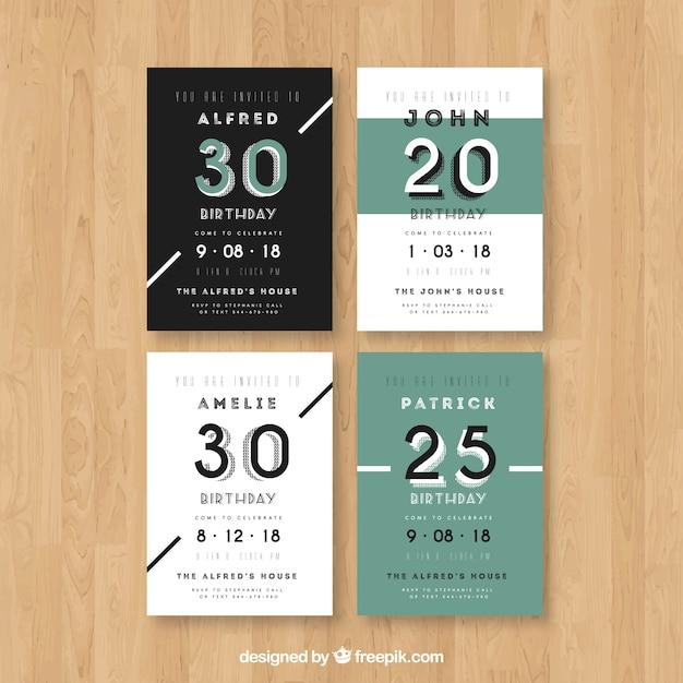 Set De Cuatro Invitaciones De Cumpleaños En Diseño Plano