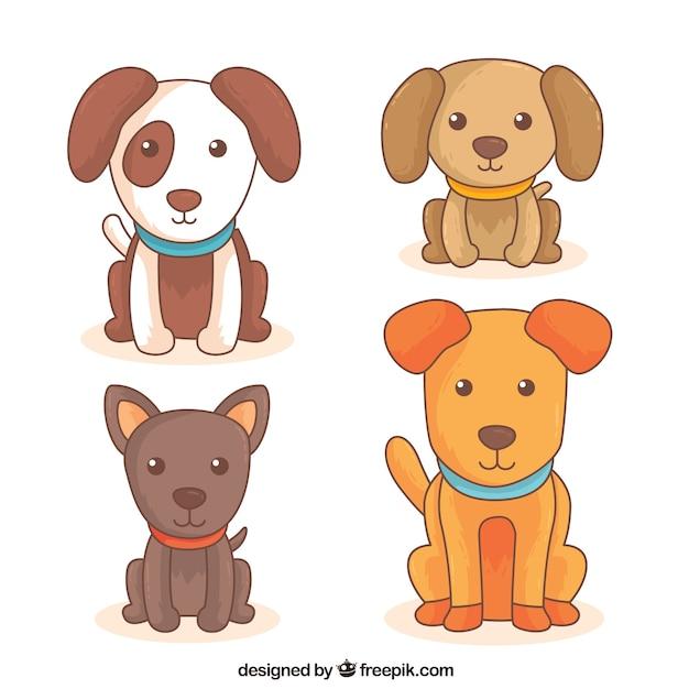 Set de cuatro perros lindos de diferentes razas Vector Premium