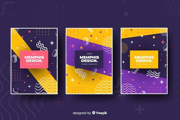 Set de cubiertas de estilo memphis vector gratuito