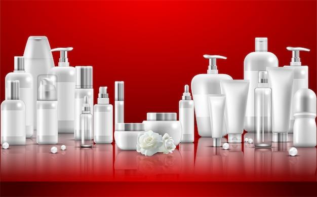 Set de cuidado de la piel. embalajes de productos de belleza naturales. Vector Premium