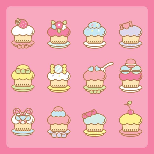 Set de cupcakes kawaii Vector Premium