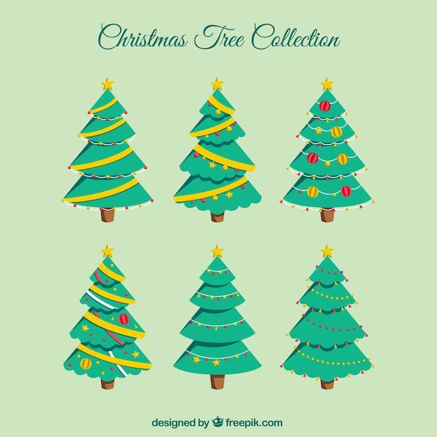 Set de rboles de bonitos rboles de navidad en dise o - Arbol de navidad diseno ...