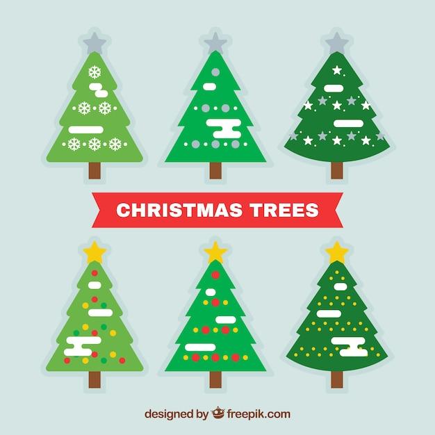 Set de rboles de navidad con nieve en dise o plano - Arbol navidad diseno ...