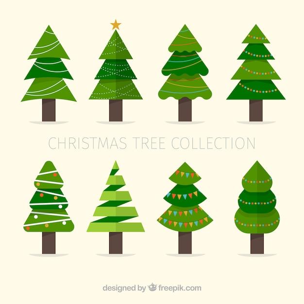 Set de rboles de navidad en dise o plano descargar - Diseno de arboles de navidad ...