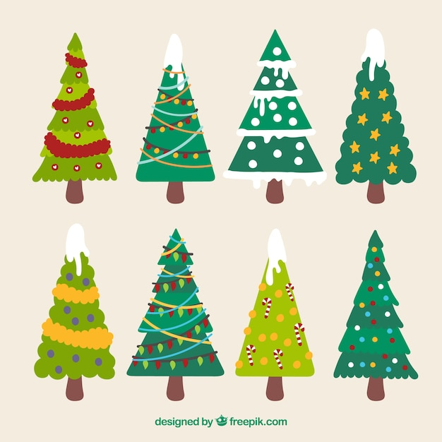 Set de rboles de navidad en dise o plano descargar - Arbol de navidad diseno ...