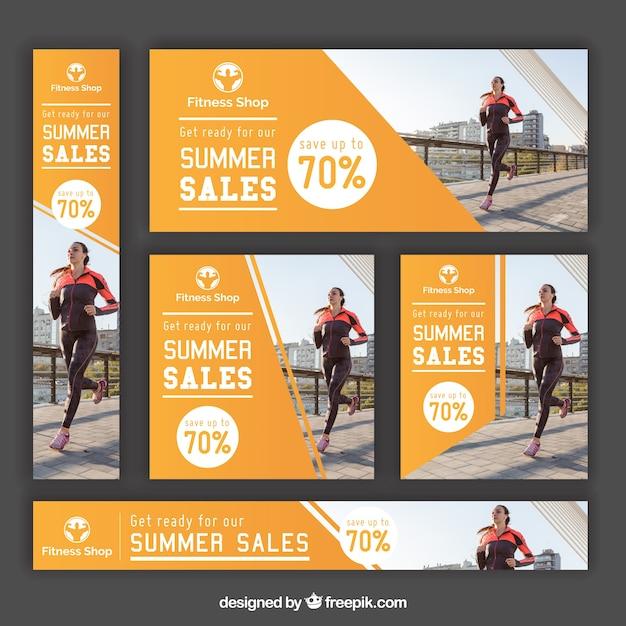Set de banners de fitness de  rebajas de verano Vector Gratis