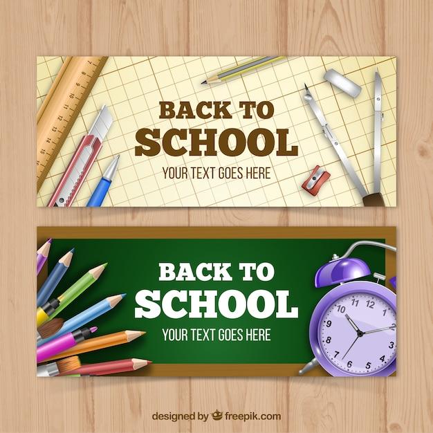 Set de banners de material escolar en estilo realista  Vector Gratis