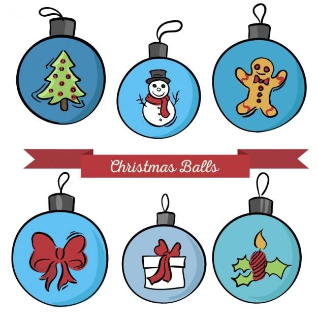 Set de bolas de navidad con dibujos descargar vectores for Imagenes de bolas de navidad