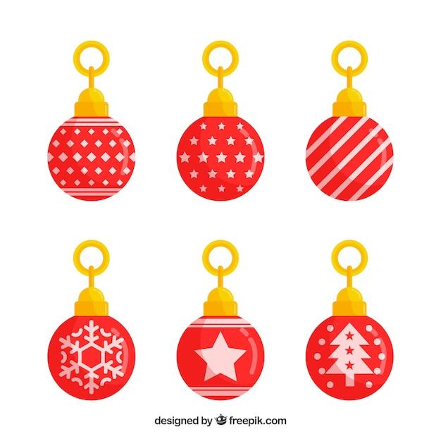 Set de bolas de navidad rojas en dise o plano descargar - Bolas de navidad rojas ...