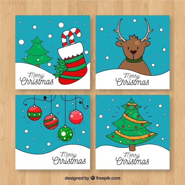 Set de bonitas tarjetas de navidad con dibujos descargar - Bonitas tarjetas de navidad ...