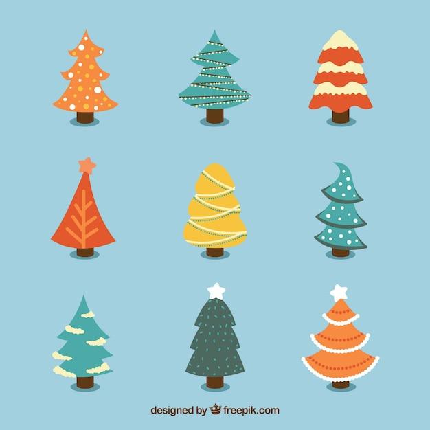 Set de bonitos rboles de navidad dibujados a mano - Arboles de navidad bonitos ...