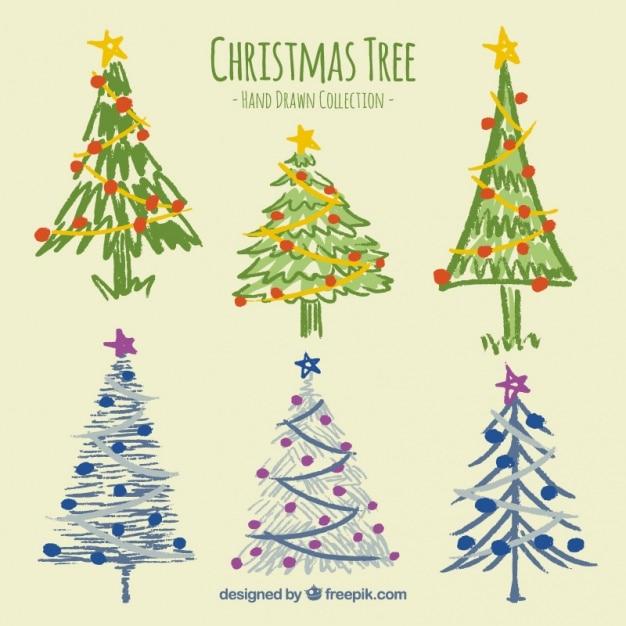 Set de bonitos rboles de navidad pintados a mano - Arboles de navidad bonitos ...