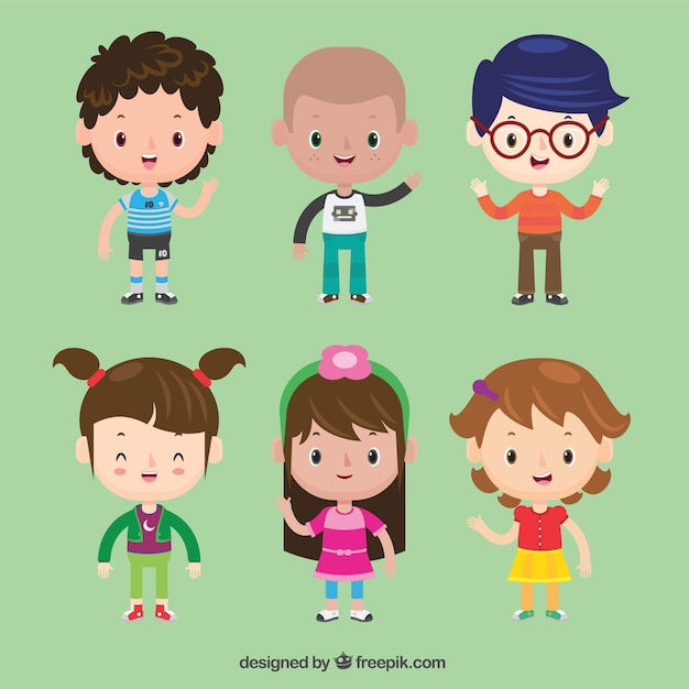 Set de bonitos personajes de niños  Vector Gratis