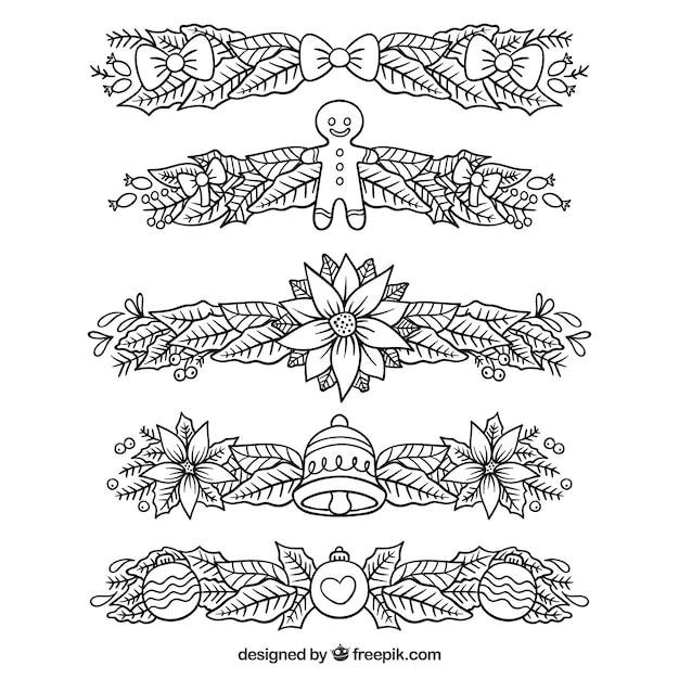 Set de bordes decorativos de navidad dibujados a mano - Decorativos de navidad ...