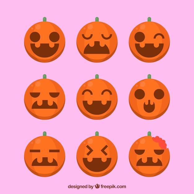 Set de calabazas de halloween en dise o plano descargar - Disenos de calabazas ...