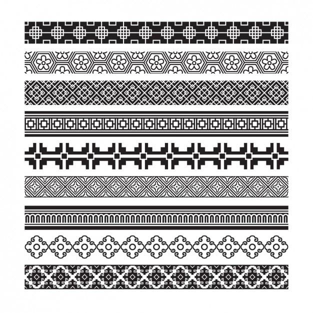 Set de cenefas decorativos abstractos descargar vectores - Cenefas decorativas para imprimir ...