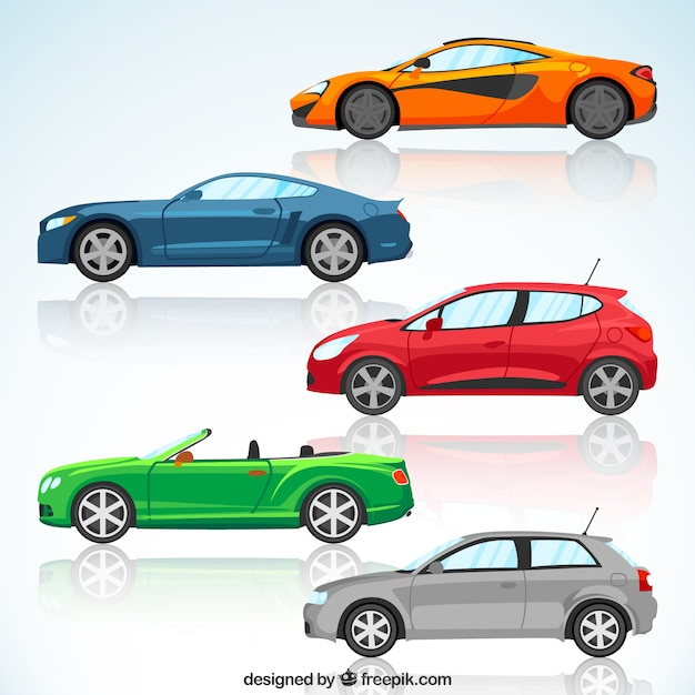 set de coches modernos de colores vector gratis