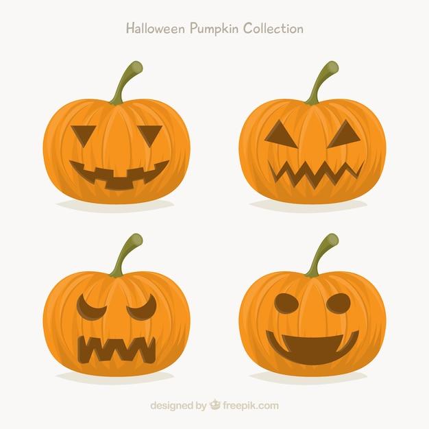 Set de cuatro calabazas de halloween   Descargar Vectores gratis