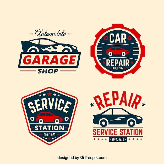 Set de cuatro logos de coches con detalles rojos for Logos de garajes