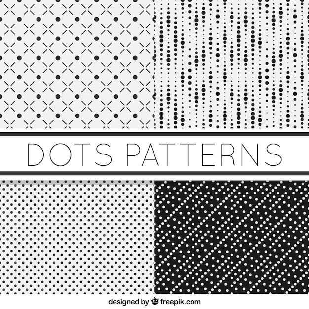 Set de cuatro patrones blancos y negros con puntos | Descargar ...