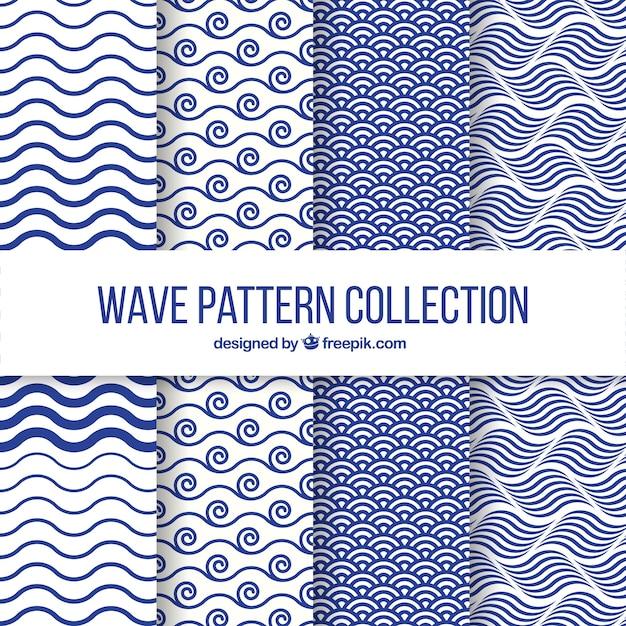 Set de cuatro patrones de olas en diseño plano Vector Gratis