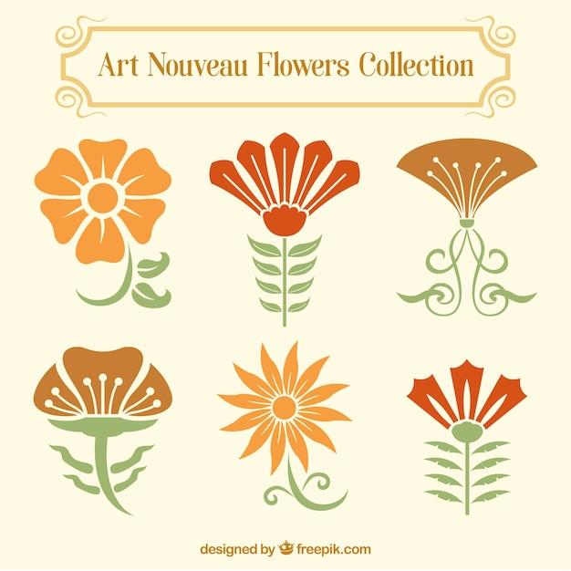 Set de decoraci n floral en estilo art nouveau descargar for Decoracion art nouveau