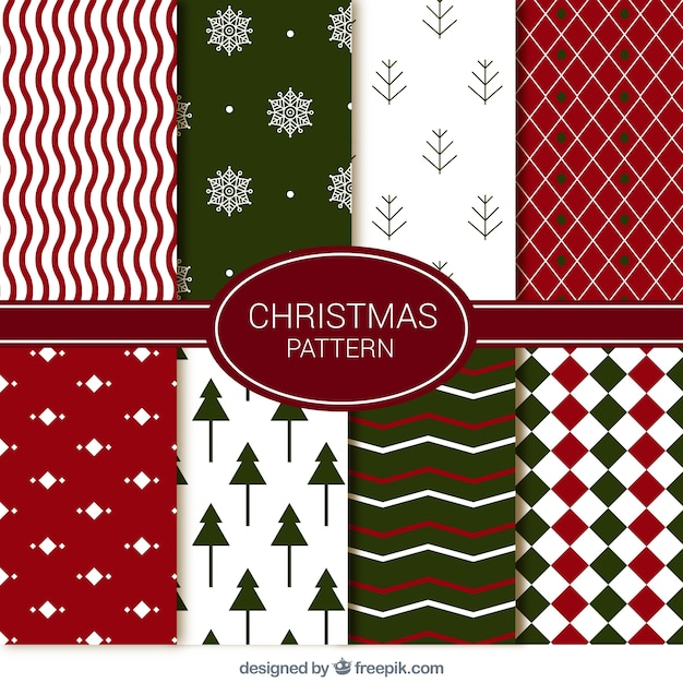 set de decorativos patrones de navidad abstractos vector gratis