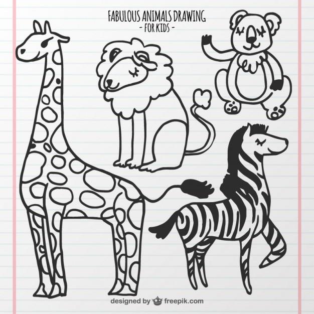 Set de dibujos de animales para niños   Descargar Vectores Premium