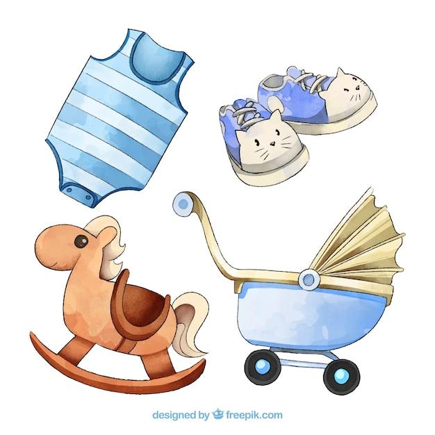 Set de elementos de bebé en estilo acuarela Vector Gratis