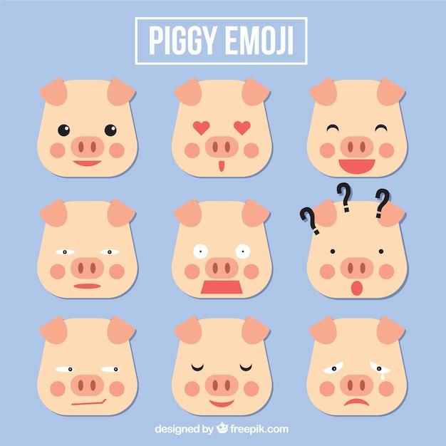 Set de emoticonos de cerdo en estilo geométrico | Descargar Vectores ...