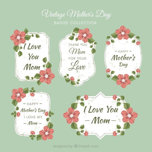 Set de etiquetas vintage del día de la madre | Descargar Vectores gratis
