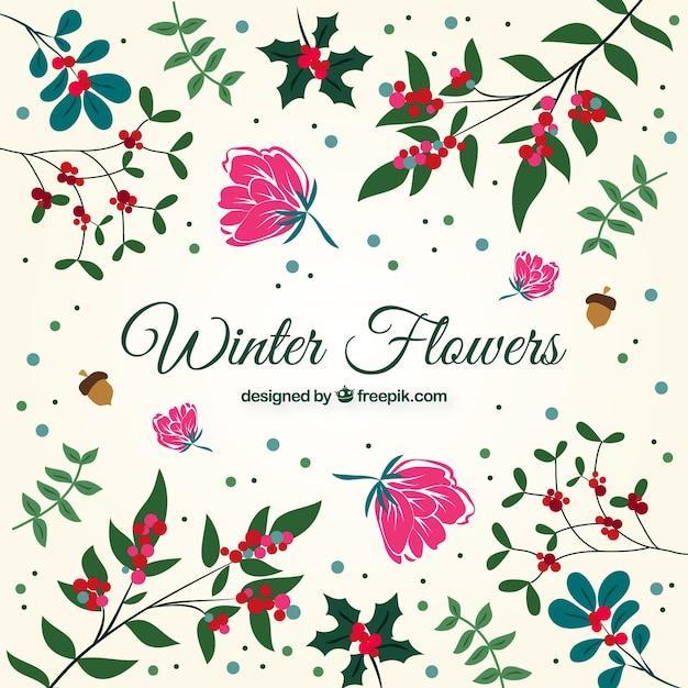 Set de flores y hojas decorativas dibujadas a mano for Plantas decorativas hojas