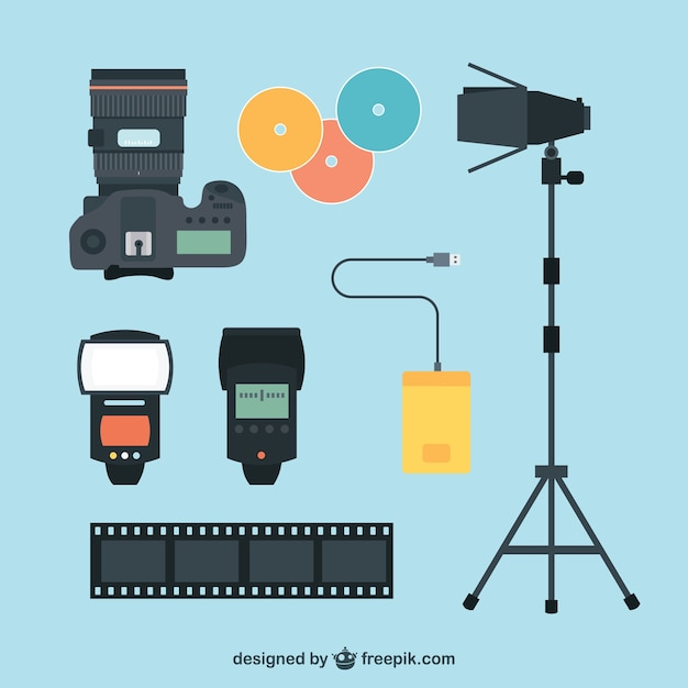 Set de fotograf a visi n superior descargar vectores premium for Camera blueprint maker gratuito