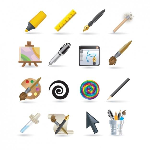 Set de iconos de dise ador descargar vectores gratis for Disenador de banos gratis