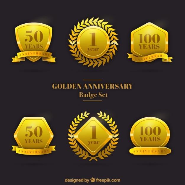 Set de insignias de bodas de oro Vector Gratis