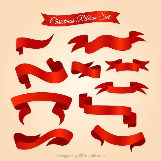 set de lazos de navidad rojos vector premium
