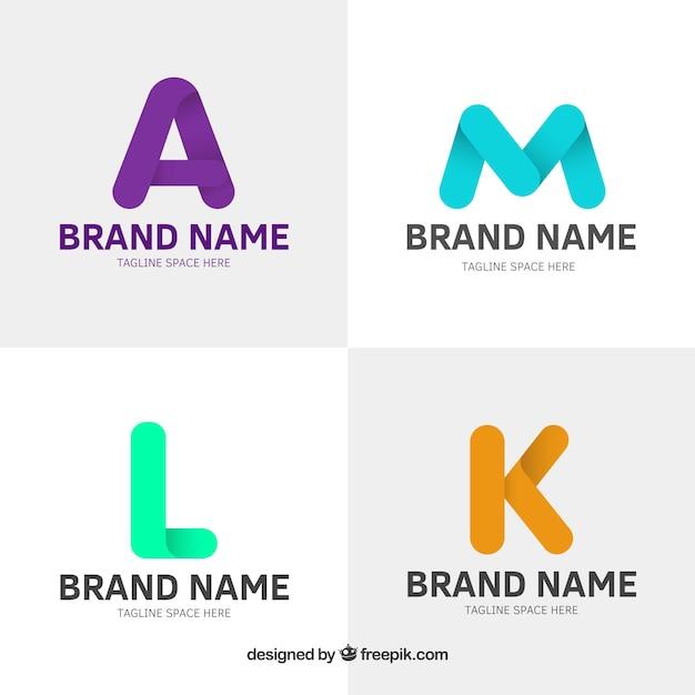 Set de logos de letras planas de colores descargar for Logos con letras