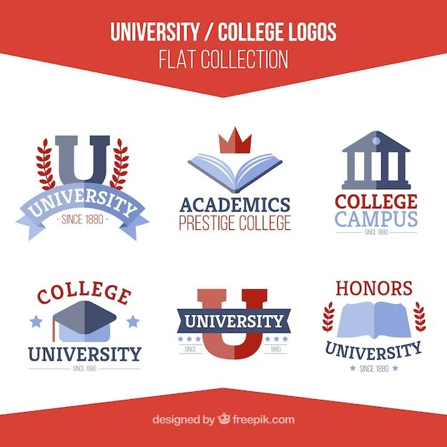set de logos de universidad en dise o plano descargar