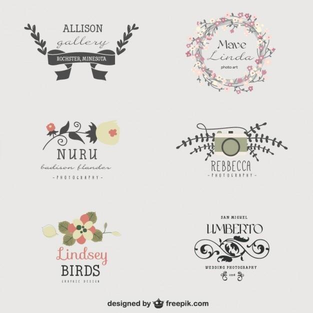 Set de logos florales Vector Gratis