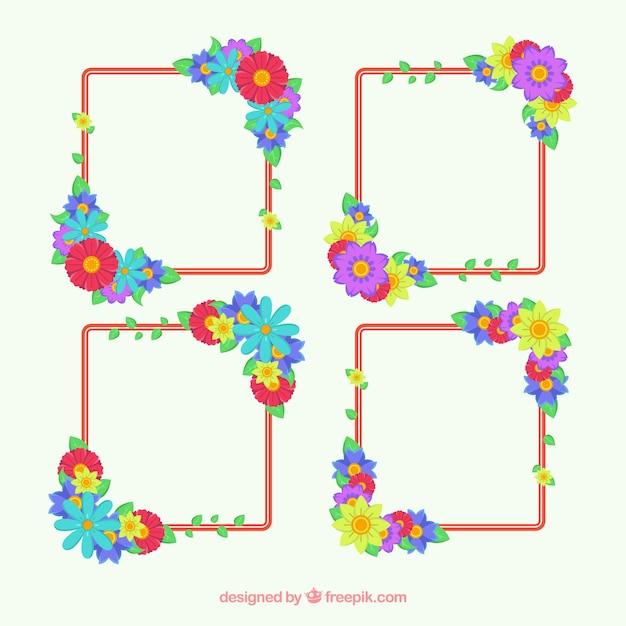 Set de marcos con bonitas flores | Descargar Vectores gratis