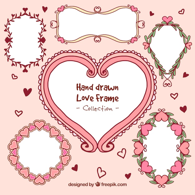Set de marcos románticos dibujados a mano   Descargar Vectores gratis