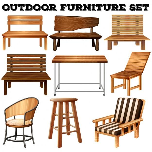 Set de mobiliario de exteriores descargar vectores premium - Mobiliario de exteriores ...
