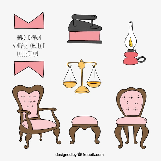 Set de muebles vintage y objetos dibujados a mano for Vintage muebles y objetos