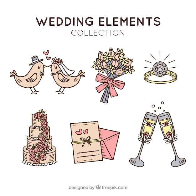 set de objetos de boda retro vector gratis