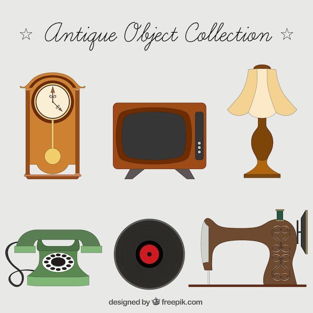 Set de objetos de decoraci n antiguos descargar vectores for Compra de objetos antiguos