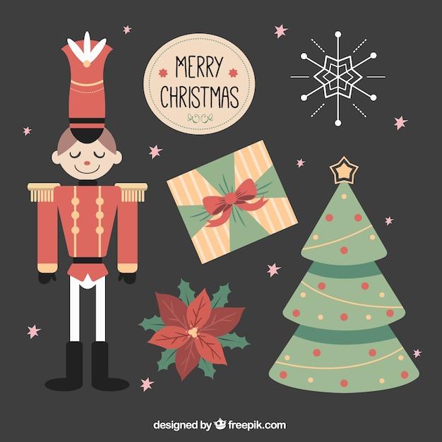 Set de objetos decorativos vintage de navidad descargar vectores gratis - Objetos de navidad ...
