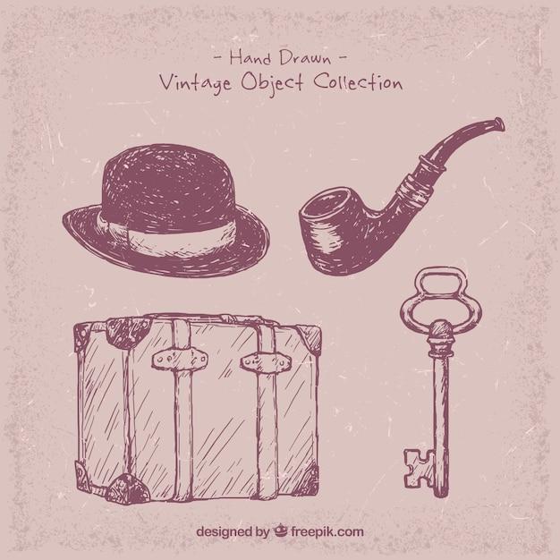 Set de objetos vintage dibujados a mano descargar - Objetos vintage ...