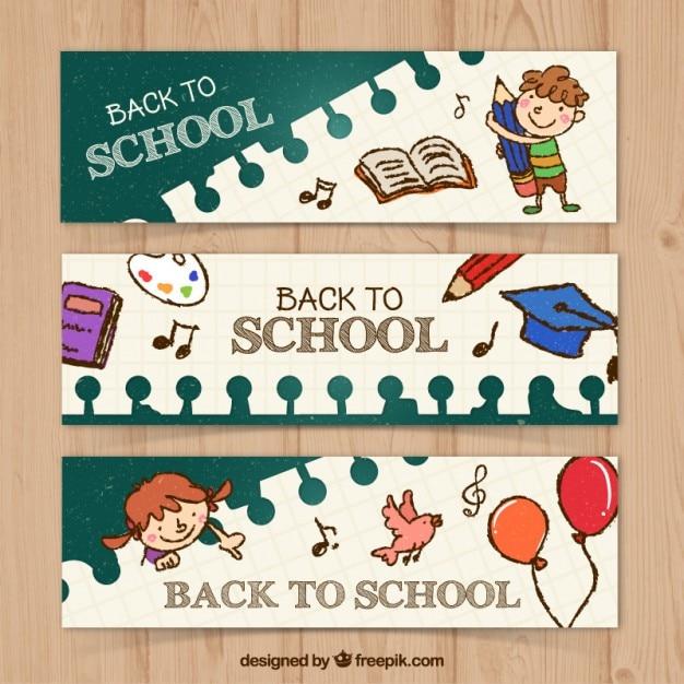 Set de simpáticos banners escolares dibujados a mano  Vector Gratis
