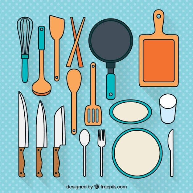 Set de utensilios de cocina descargar vectores gratis for Utensilios de chef